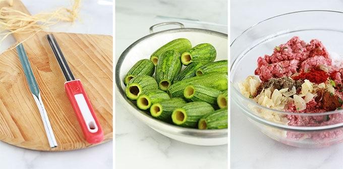 Etapes courgettes farcies a la libanaise : vider les courgettes, préparer la farce de viande hachée