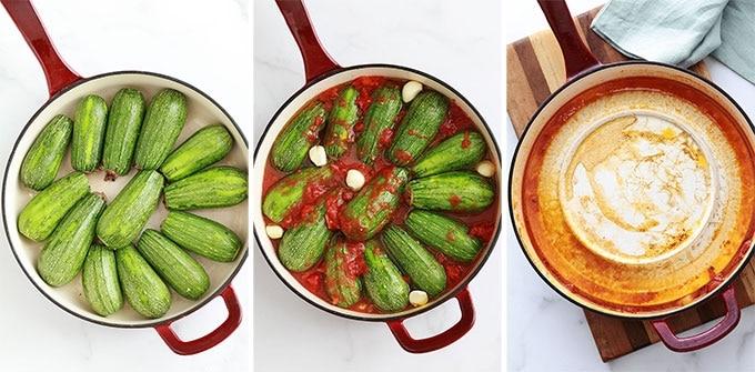 Etapes courgettes farcies a la libanaise : farcir les courgettes et ajouter la sauce tomate et l'ail, couvrez avec une assiette