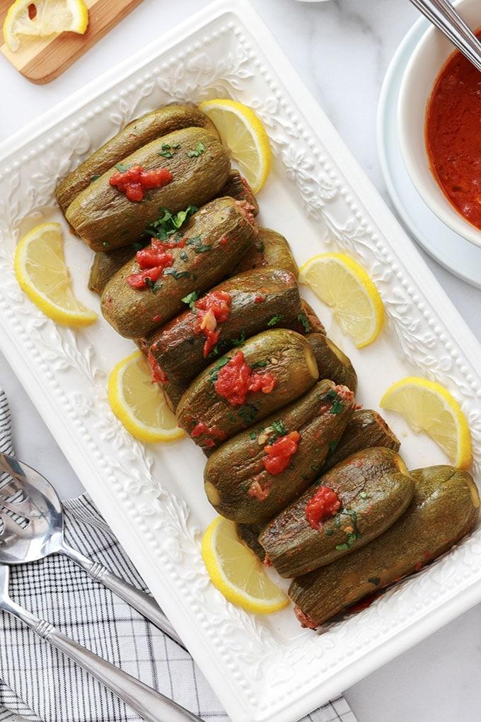 Recette courgettes farcies libanaise viande hachee sauce tomate facile koussa mahchi