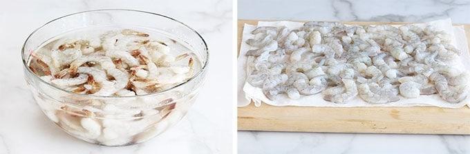 Crevettes decongelees rapidement dans un bol d'eau, equeutees puis sechees sur du papier absorbant