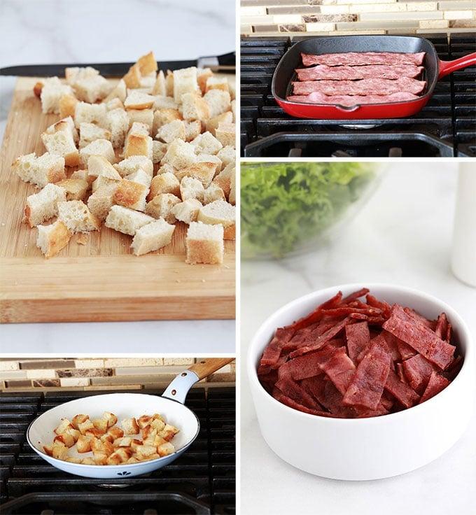 Croutons a la poele et lardons de dinde pour salade frisee