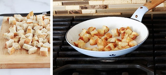 Croutons pour salade frisee