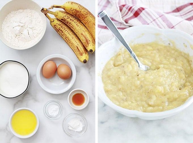 Bananaa bread américain - Ingredients de la recette classique, bananes mûres écrasées