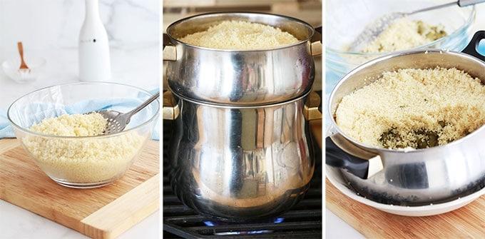 Cuisson couscous feves a la vapeur dans le couscoussier