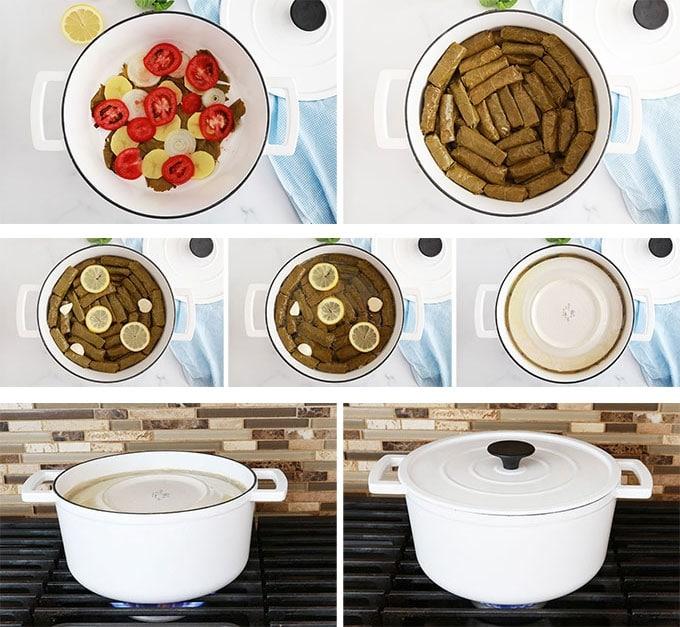 Feuilles de vigne farcies dans une cocotte et cuisson sur feu doux