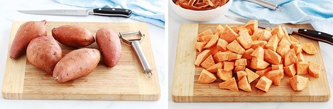 Patates douces entieres et patates douces coupees en cubes