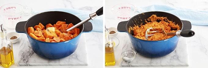 Recette puree de patates douces ETAPE ecraser avec un presse puree