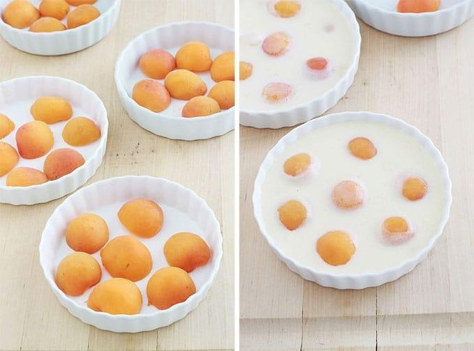 Abricots dans mini moules a tartelettes - verser l'appareil a clafoutis