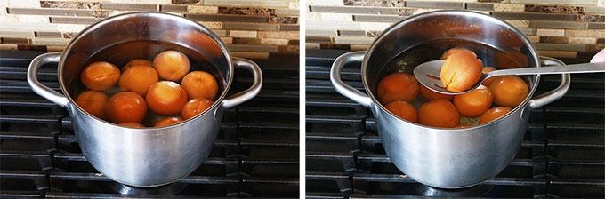 Abricots blanchis eau bouillante