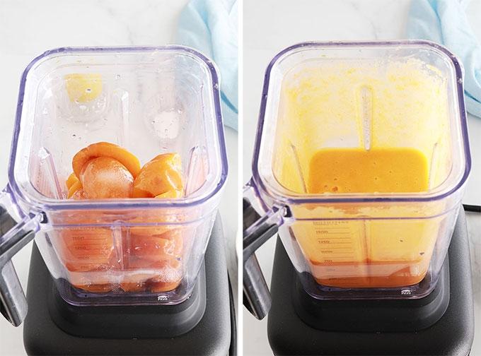 Abricots blanchis sucre jus de citron mixes au blender