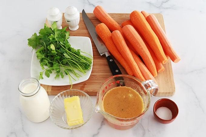Ingrédients des carottes Vichy à la crème