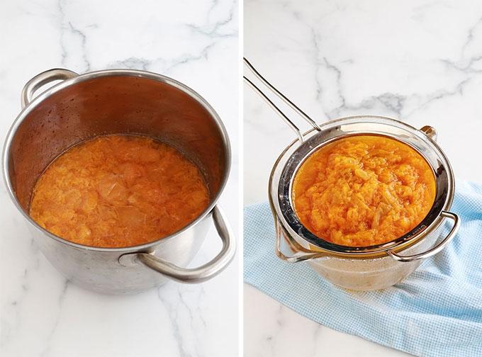 Abricots cuits filtrer passoire