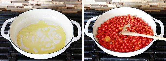 Délicieuse sauce tomate express ; prête en 10 minutes. Peu d'ingrédients : tomates cerises, ail, huile d'olive, sel et poivre, basilic. Idéale pour les pâtes, viandes et poissons, légumes grillés... Recette de base et idées de variantes.
