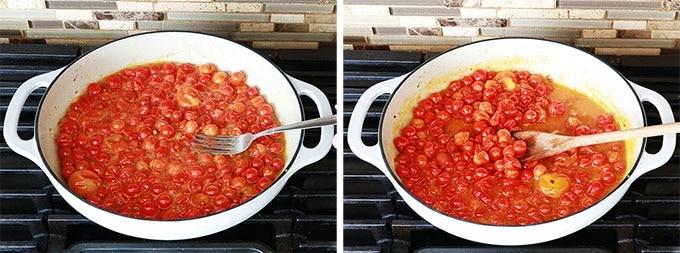 Ecraser les tomates cerises avec une fourchette