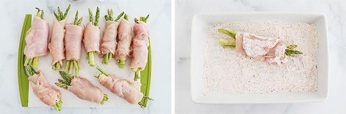 Etapes passer les escalopes de blancs de poulet roulees aux asperges dans la farine epicee