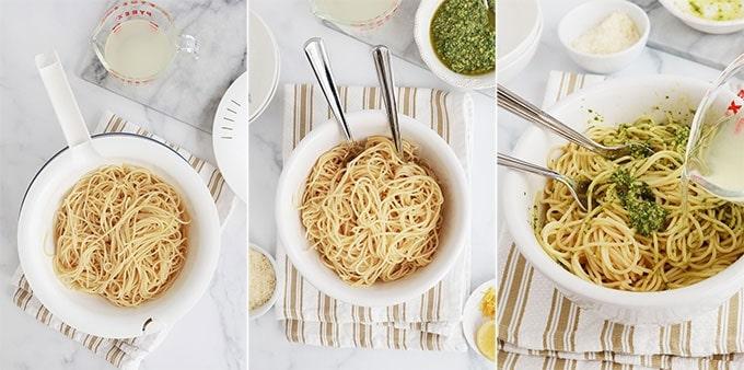 Etapes pates spaghetti au pesto Egoutter les pates ajouter le pesto et un peu d'eau de cuisson des pates