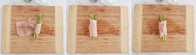 Etapes rouler escalope blanc de poulet sur les asperges et securiser avec un cure dent
