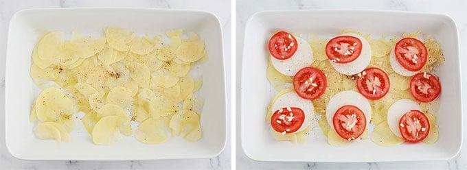Fond du plat - rondelles fines de pommes de terre rondelles d oignon rondelles de tomates