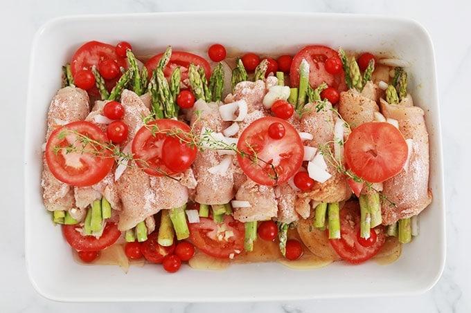 Recette blancs de poulet roules au four asperges tomates oignon pomme de terre plat leger