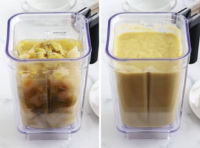 Soupe poireaux pommes de terre mixee au blender