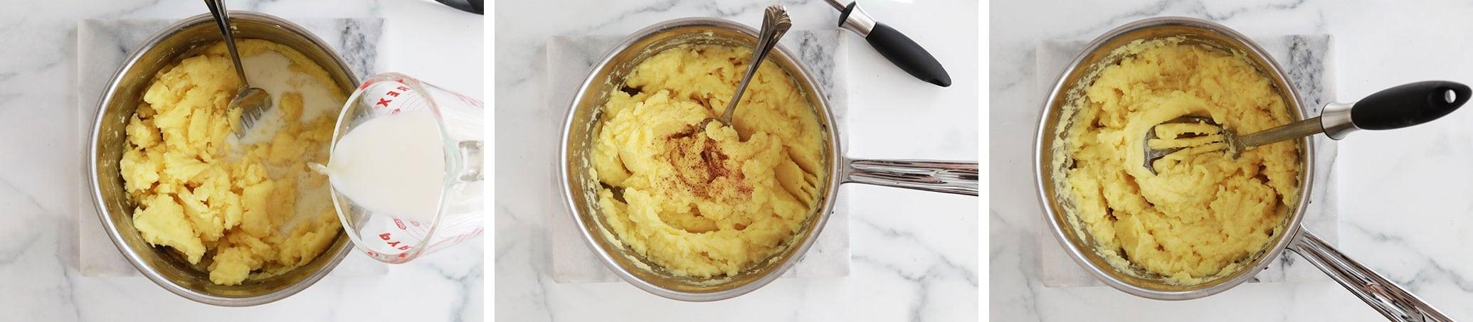 Ajouter le lait chaud puiis la noix de muscade sel et poivre