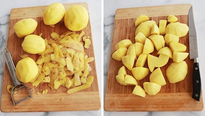 Eplucher Couper les pommes de terre en gros cubes