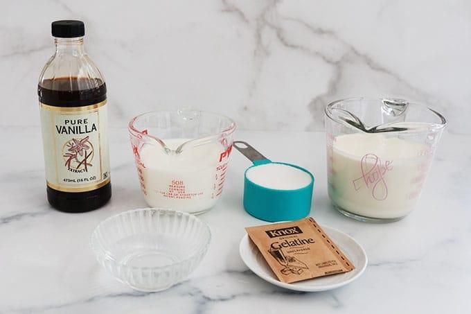 Ingredients de la panna cotta a la vanille creme lait sucre gelatine ou agar agar