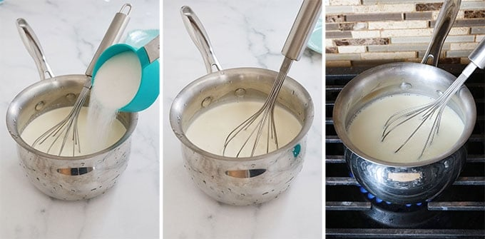 Melanger creme lait sucre et faire bouillir