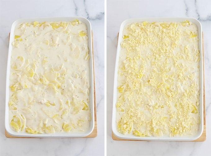 Versez les pommes de terre precuites dans le plat a gratin beurre et parsemez de fromage
