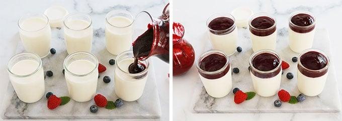 Versez une sauce aux fruits sur les verrines de panna cotta