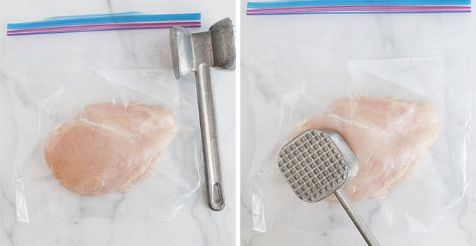 Aplatir les blancs de poulet avec un attendrisseur de viande