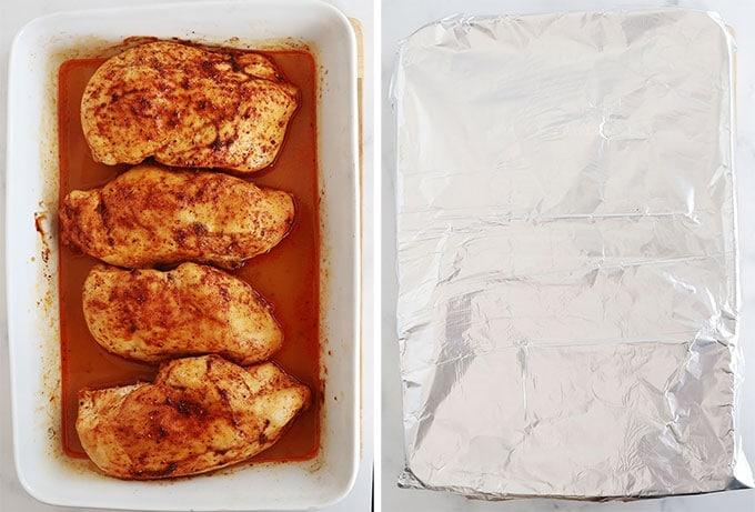 Blancs de poulet cuits au four recouverts de papier aluminium