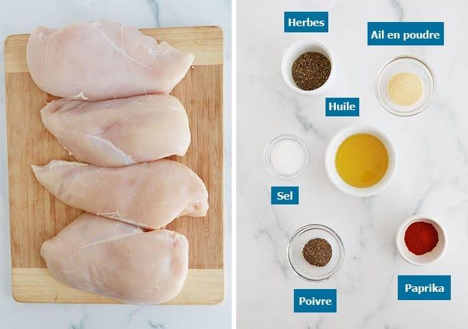 Ingredients blancs de poulet huile et assaisonnements