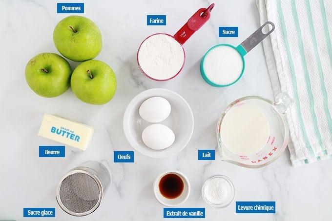 Ingredients du gateau aux pommes