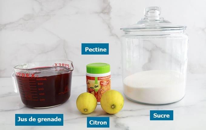 Ingredients geleee de grenade jus de grenade citron grenade sucre