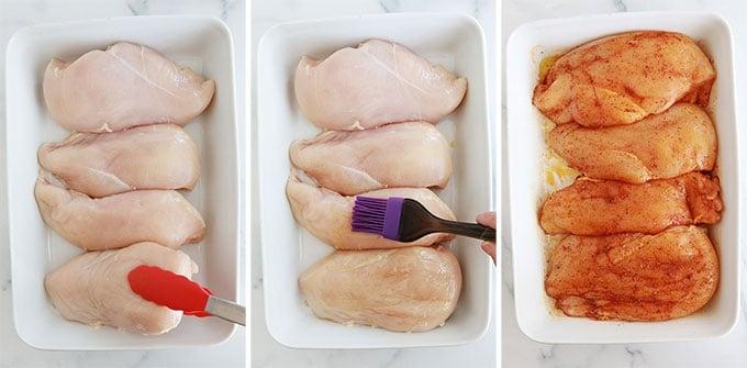 Mettre les blancs de poulet dans un plat a four Huiler et assaisonner