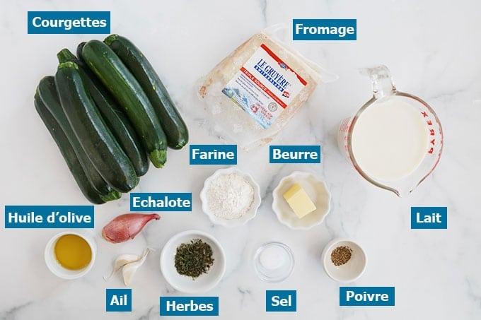 Ingredients du gratin de courgettes a la bechamel