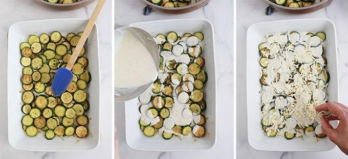 Montage gratin de courgettes couche de courgettes precuites couche de bechamel couche de fromage