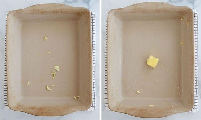 Preparer le plat pour le gratin dauphinois - ailler et beurrer
