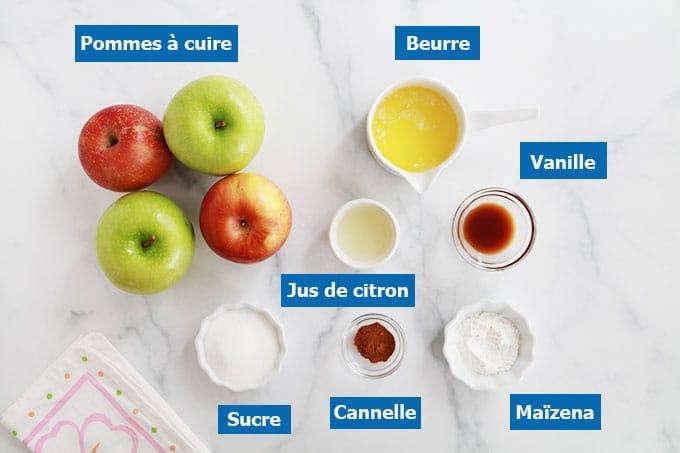 Ingredients des pommes au four en tranches