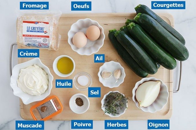 Ingredients du gratin de courgettes a la creme fraiche epaisse et oeufs