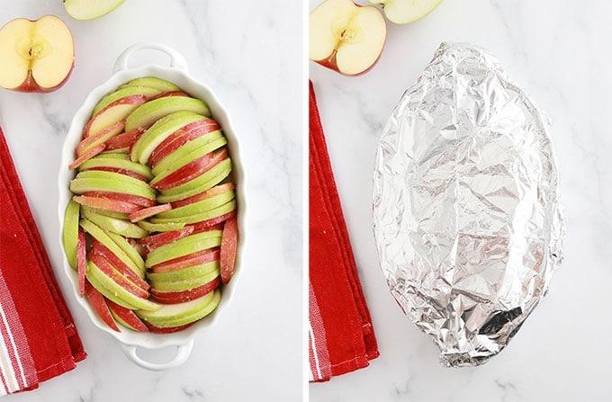 Pommes dans le plat - couvrir avec du papier aluminium avant cuisson