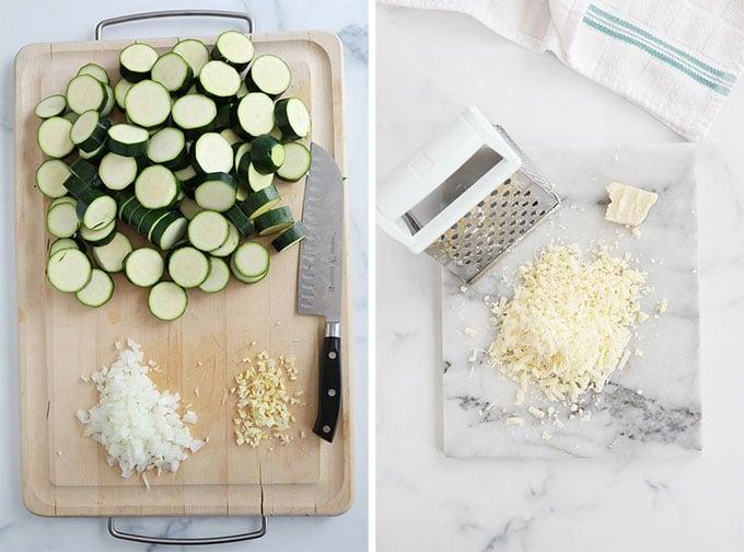 Preparer les ingredients - couper courgettes ail oignon raper le fromage
