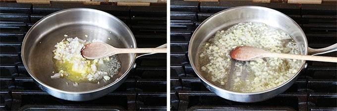 Etape 1 - Faire revenir echalotte et ail dans le beurre