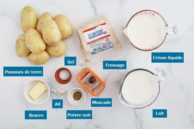 Ingrédients du gratin dauphinois au fromage