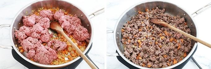 Etape 2 - Ajoutez la viande hachee et laissez cuire