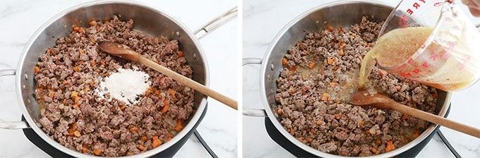 Etape 3 - Ajoutez la farine ou maizena puis le bouillon