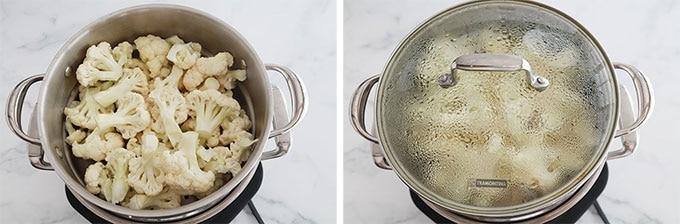 Etape 5 - Cuire les bouquets de chou fleur a la vapeur