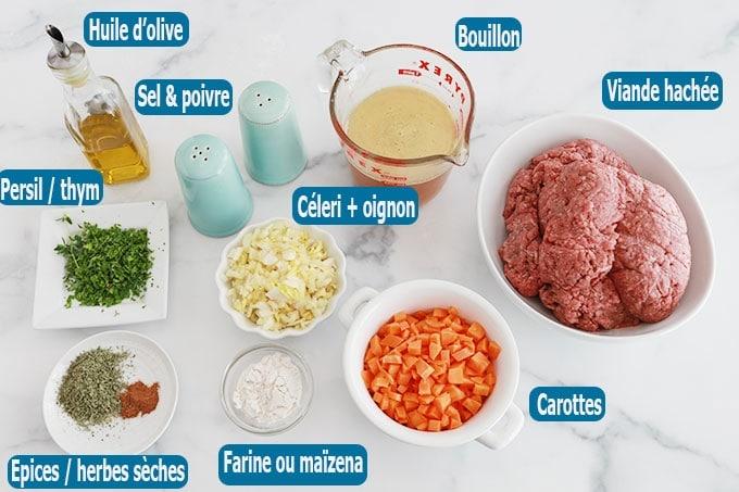 Ingredients du gratin de chou fleur a la viande hachee