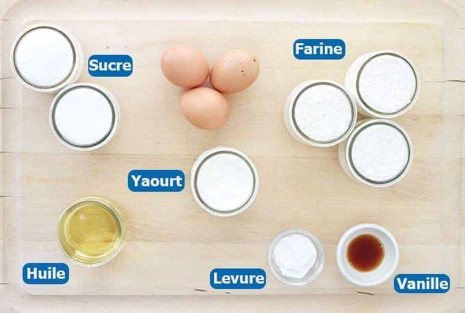Ingrédients du gâteau au yaourt classique